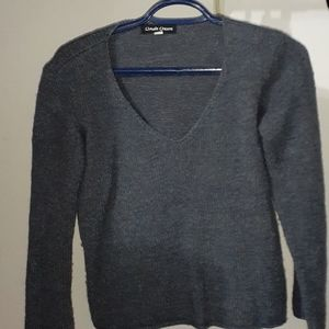 Navy blue/ grey knitted v-neck sweater